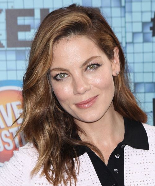 Michelle Monaghan Long Wavy Casual    Hairstyle   - Medium Chocolate Brunette Hair Color with Dark Blonde Highlights