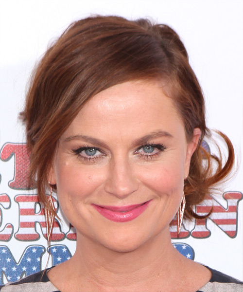 Amy Poehler Medium Straight Casual  Updo Hairstyle with Side Swept Bangs  - Medium Brunette (Auburn)