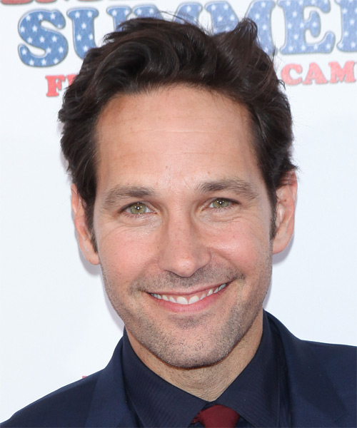 Paul Rudd Short Wavy Casual Hairstyle Dark Brunette Mocha