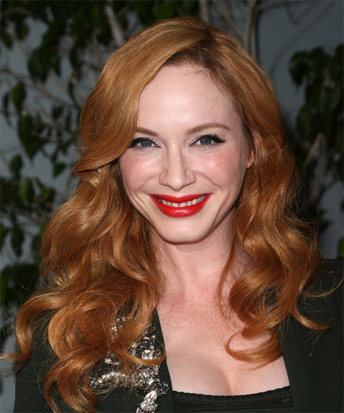 Christina Hendricks Long Wavy Casual   Hairstyle   - Medium Red (Ginger)