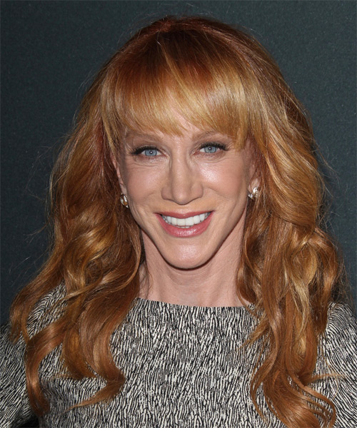 Kathy Griffin Long Wavy Casual   Hairstyle with Blunt Cut Bangs  - Medium Red (Ginger)