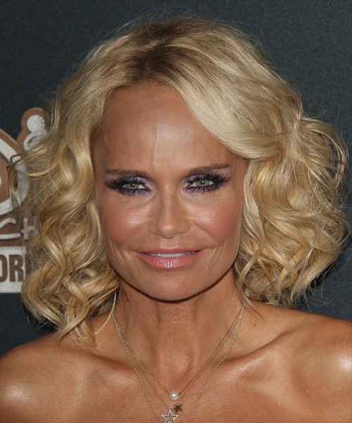 Kristin Chenoweth Medium Curly    Golden Blonde   Hairstyle with Side Swept Bangs