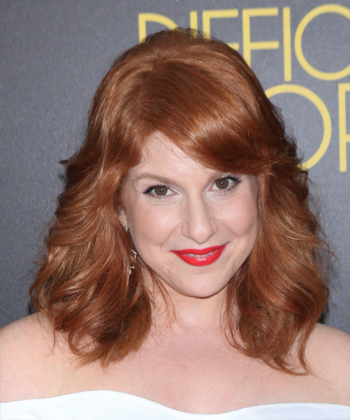 Julie Klausner Long Wavy Formal    Hairstyle with Side Swept Bangs  - Light Copper Red Hair Color