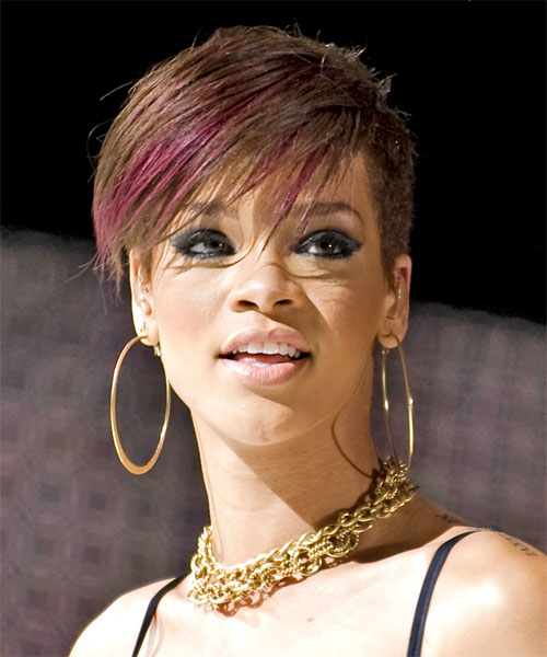 Rihanna Short Straight    Brunette   Hairstyle   with  Red Highlights