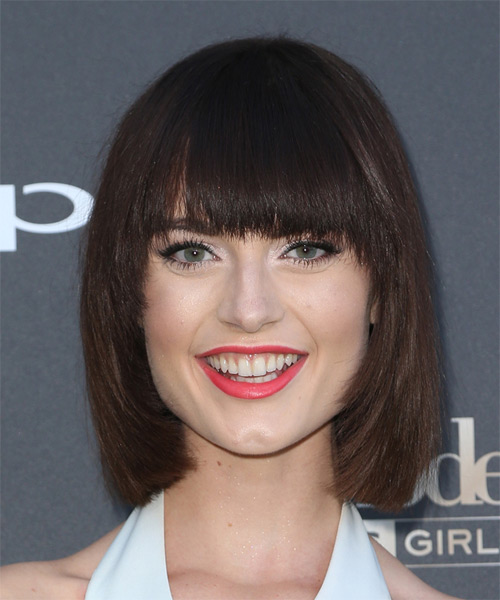 Lacey Rogers Medium Straight Casual Bob  Hairstyle with Blunt Cut Bangs  - Dark Brunette (Mocha)