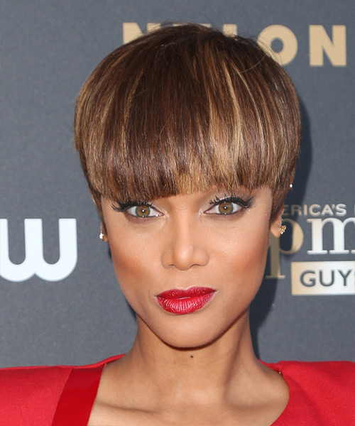 Tyra Banks Short Straight Formal    Hairstyle with Blunt Cut Bangs  - Medium Chocolate Brunette Hair Color with Dark Blonde Highlights