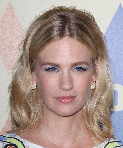 January Jones Medium Wavy Casual   Hairstyle   - Light Blonde