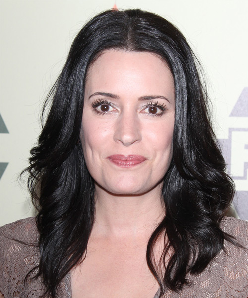 Paget Brewster Long Wavy Casual   Hairstyle   - Black
