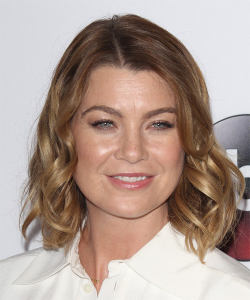 Ellen Pompeo Medium Wavy Casual Hairstyle Light Caramel