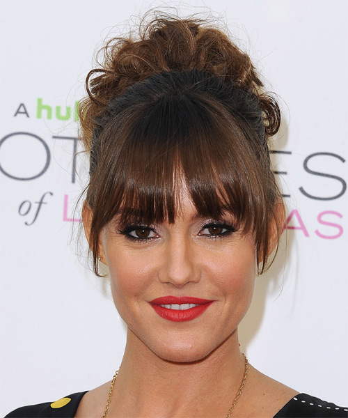 Erinn Hayes Long Curly Casual   Hairstyle with Blunt Cut Bangs
