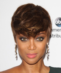 Tyra Banks Short Straight Casual Layered Pixie  Hairstyle   -  Brunette Hair Color