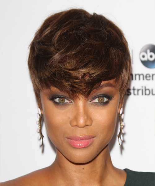Tyra Banks Short Straight Casual Layered Pixie  Hairstyle   - Medium Brunette Hair Color