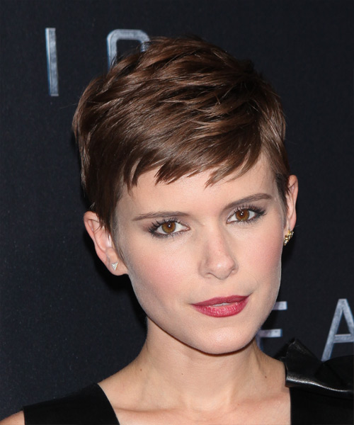 Kate Mara Short Straight Formal    Hairstyle with Side Swept Bangs  - Medium Chocolate Brunette Hair Color