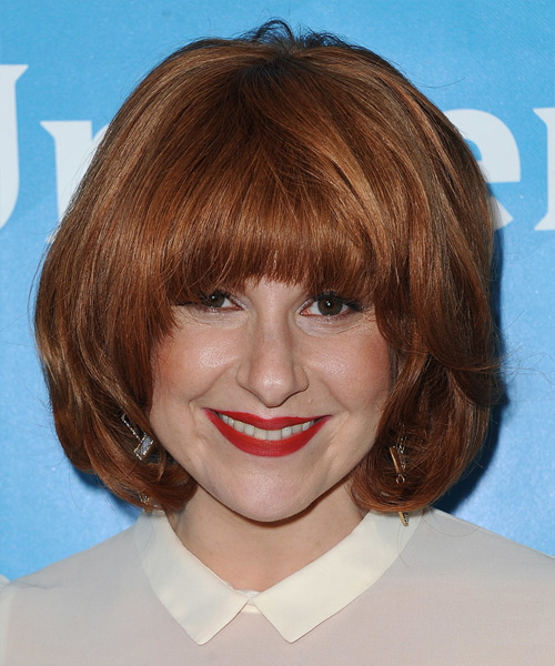 Julie Klausner Medium Straight Casual   Hairstyle with Blunt Cut Bangs  - Medium Red