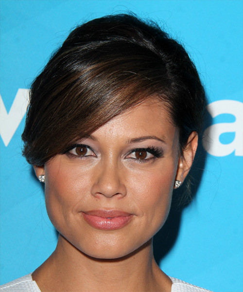 Vanessa Lachey Long Straight Formal Wedding  Hairstyle with Side Swept Bangs  - Dark Brunette