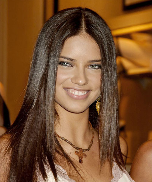 Adriana Lima Long Straight Casual    Hairstyle   -  Brunette Hair Color