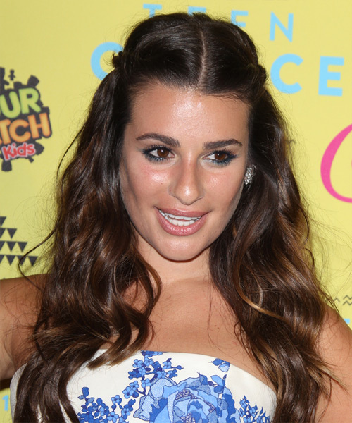 Lea Michele Long Wavy Casual   Hairstyle   (Mocha)