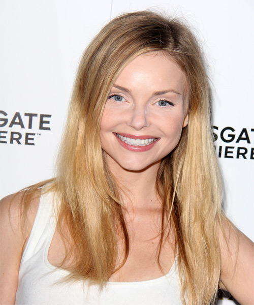 Izabella Miko Long Straight Casual    Hairstyle   -  Blonde Hair Color