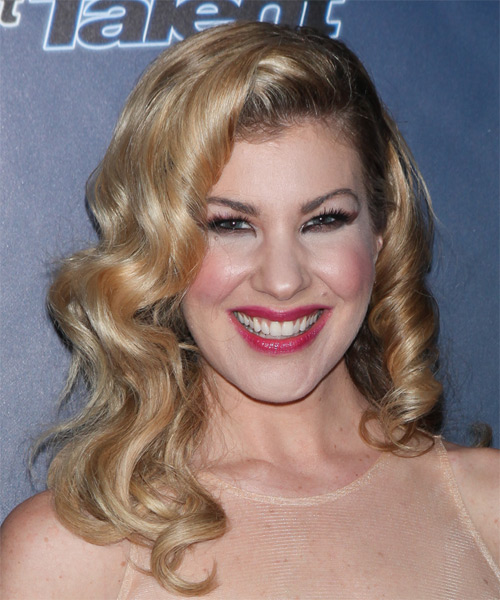 Emily West Medium Curly Formal    Hairstyle   -  Golden Blonde Hair Color