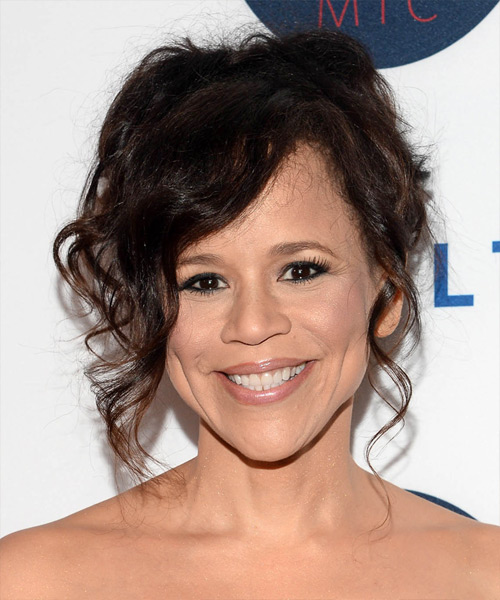Rosie Perez Long Curly Formal Hairstyle Dark Brunette