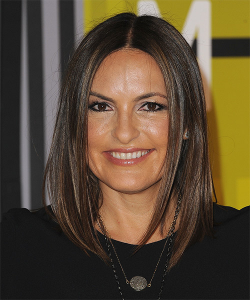 Mariska Hargitay Medium Straight Casual   Hairstyle   - Dark Brunette
