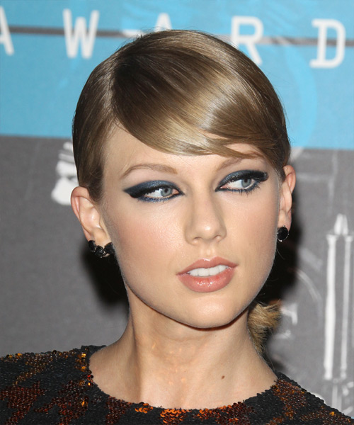 Taylor Swift Long Straight Formal    Hairstyle with Side Swept Bangs  -  Ash Blonde Hair Color