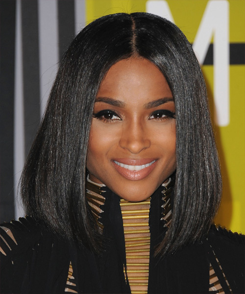 Ciara Medium Straight Formal Bob  Hairstyle   - Black