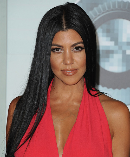 Kourtney Kardashian Long Straight Formal    Hairstyle   - Black  Hair Color