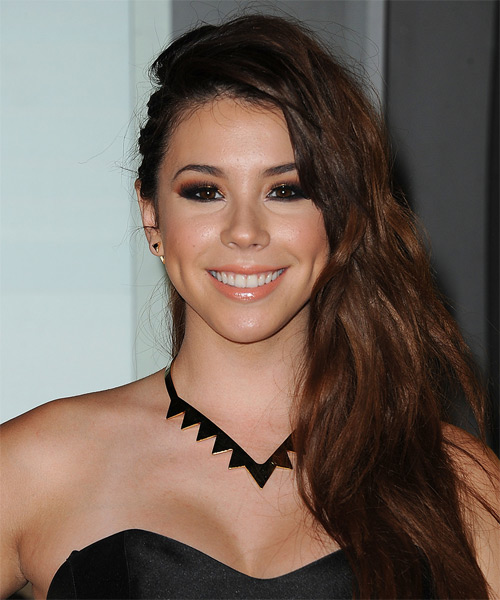 Jillian Rose Reed Long Wavy Casual Half Up Hairstyle