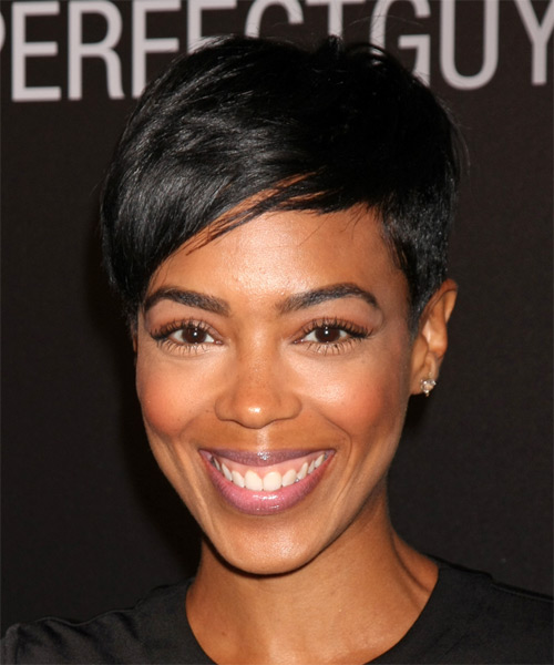 Jazmyn Simon Short Straight Casual Pixie  Hairstyle with Side Swept Bangs