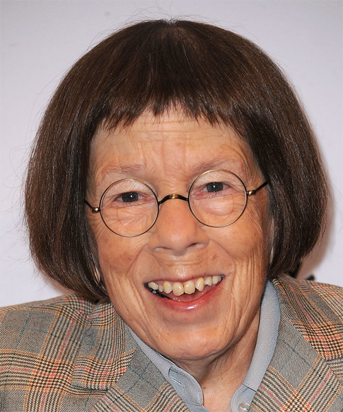 Linda Hunt Medium Straight    Brunette Bob  Haircut with Razor Cut Bangs