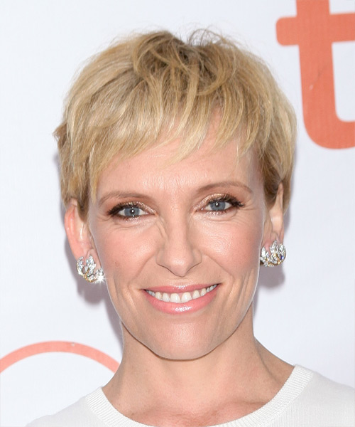 Toni Collette Short Straight Casual Layered Pixie  Hairstyle   - Medium Blonde and Light Brunette Two-Tone Hair Color