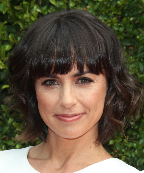 Constance Zimmer Medium Wavy Formal   Hairstyle with Blunt Cut Bangs  - Dark Brunette