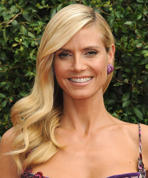 Heidi Klum Long Wavy Formal    Hairstyle   - Medium Honey Blonde Hair Color