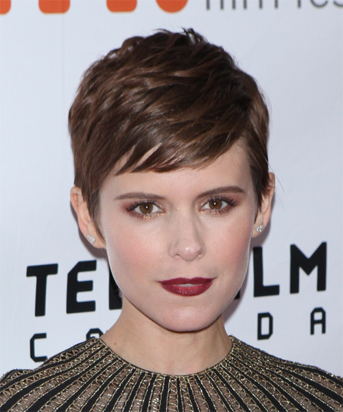 Kate Mara Short Straight    Brunette   Hairstyle with Side Swept Bangs