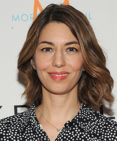 Sofia Coppola Medium Wavy Casual   Hairstyle   - Medium Brunette (Auburn)