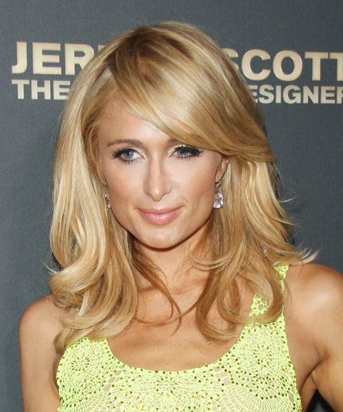 Paris Hilton Long Straight Formal   Hairstyle with Side Swept Bangs  - Dark Blonde (Golden)