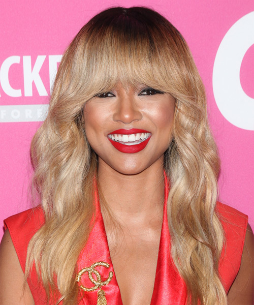 Karrueche Tran Long Wavy Casual   Hairstyle with Blunt Cut Bangs  - Medium Blonde