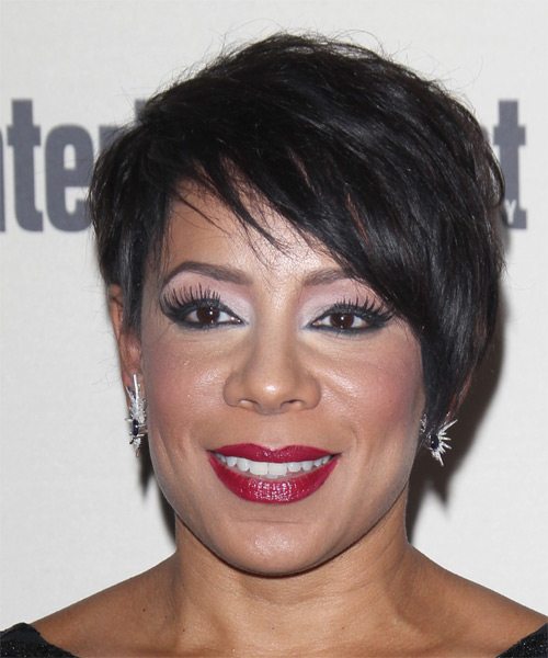 Selenis Leyva Short Straight Casual   Hairstyle with Side Swept Bangs  - Black