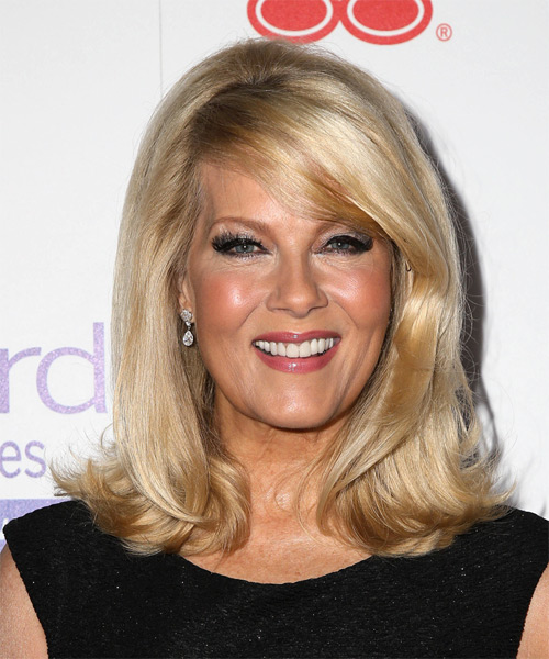 Barbara Niven Medium Straight Formal   Hairstyle with Side Swept Bangs  - Medium Blonde (Golden)