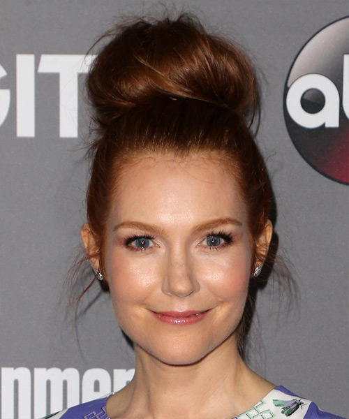 Darby Stanchfield Long Straight Casual Wedding Updo Hairstyle   - Dark Red