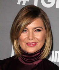 Ellen Pompeo Medium Straight Casual  Bob  Hairstyle with Side Swept Bangs  - Dark Blonde Hair Color