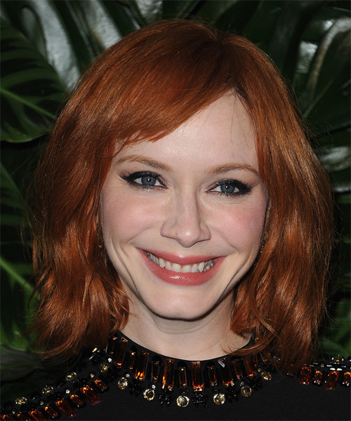 Christina Hendricks Medium Straight Casual   Hairstyle with Side Swept Bangs  (Ginger)