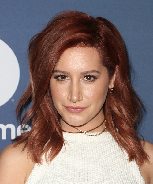 Ashley Tisdale Medium Wavy Casual   Hairstyle   - Dark Red (Burgundy)