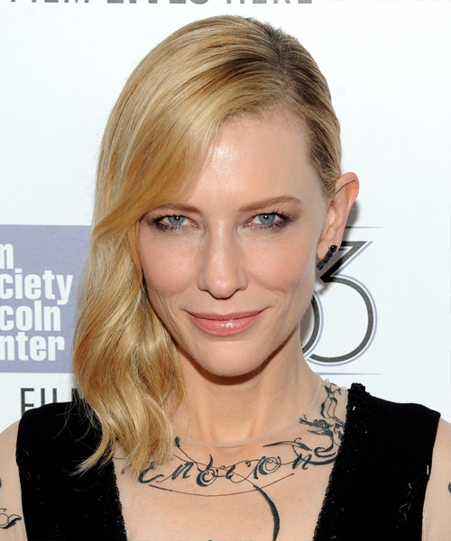 Cate Blanchett Medium Wavy Formal    Hairstyle   -  Golden Blonde Hair Color with Light Blonde Highlights