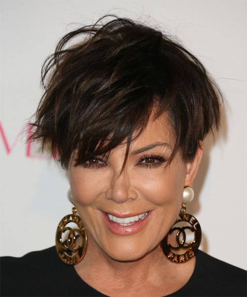 Kris Jenner Short Straight   Dark Mocha Brunette   Hairstyle with Side Swept Bangs