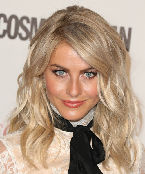 Julianne Hough Long Wavy    Champagne Blonde   Hairstyle with Side Swept Bangs  and Light Blonde Highlights