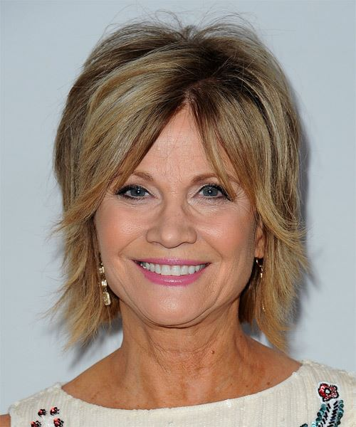 Markie Post Short Straight Casual    Hairstyle   - Dark Blonde Hair Color with Light Blonde Highlights