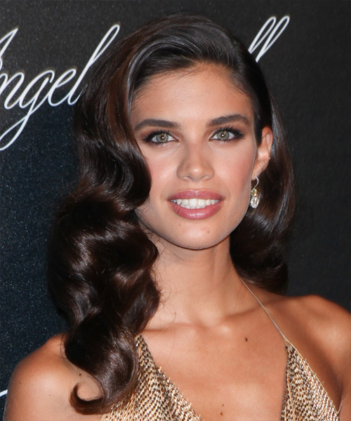 Sara Sampaio Long Wavy Formal Hairstyle Dark Brunette