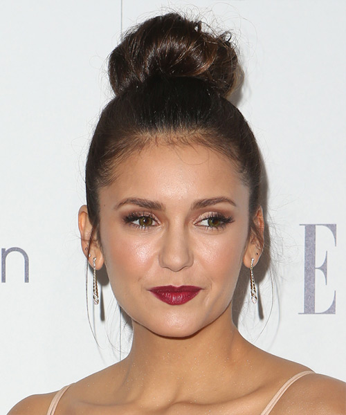 Nina Dobrev Long Straight Casual  Updo Hairstyle   (Chocolate)